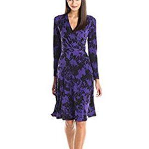 Ellen Tracy Faux Wrap Stretch Dress Violet New M